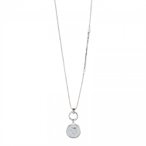Rose Gold & Silver Mix Coin Feature Necklace with an asymmetrical Silver Post